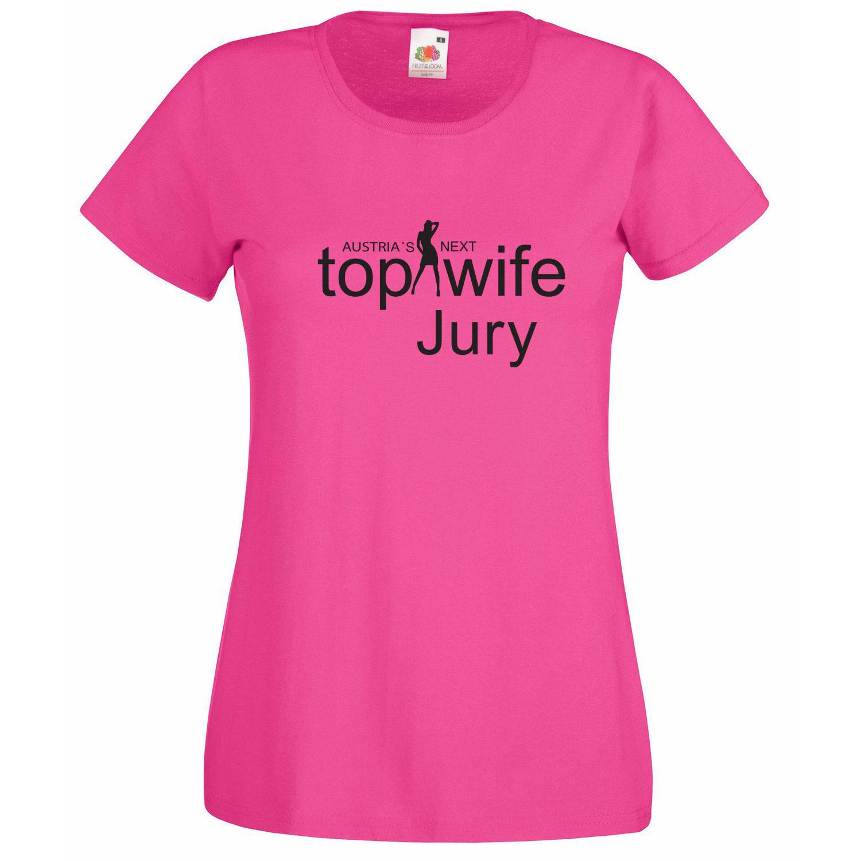 Pinkfarbnes T-Shirt mit Aufdruck Austria`s next Top Wife Jury