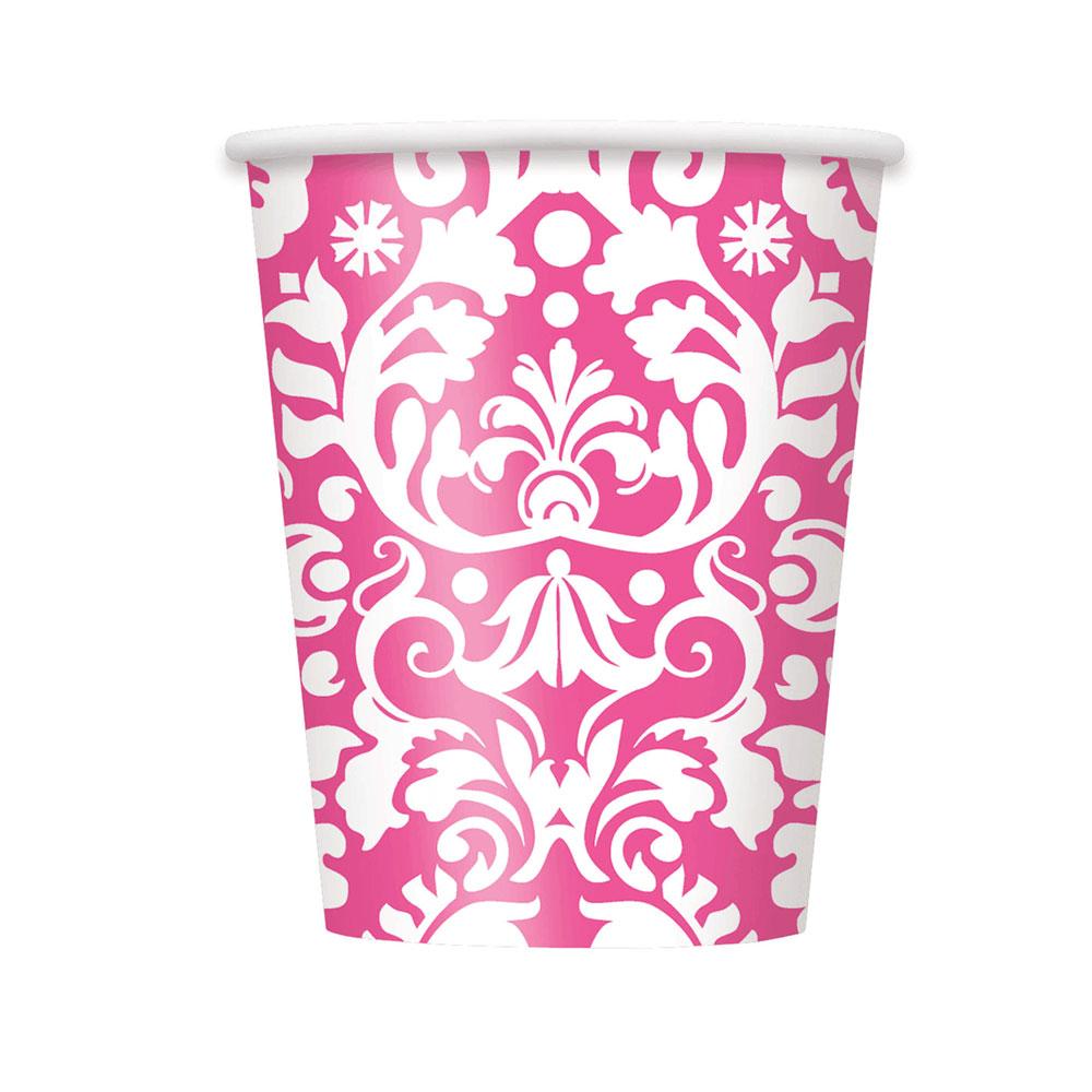 Pinkfarbener Damast-Pappbecher für die Bridal Shower
