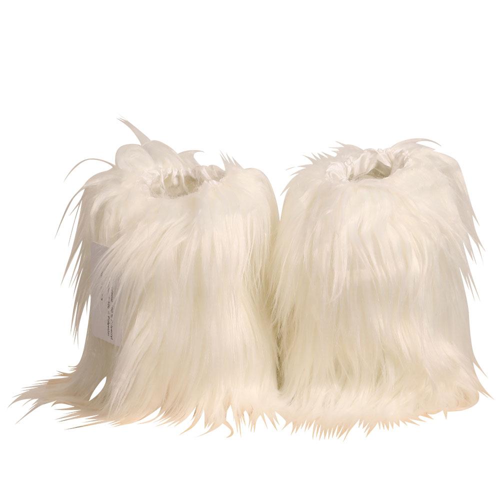 Weisse Fellstulpen - Bein-Stulpen aus Kunst-Fell