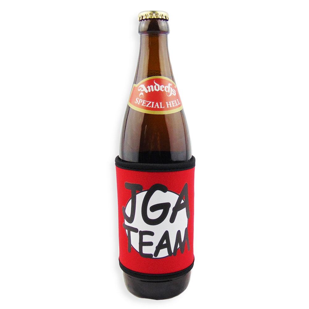 Roter Bierflaschen-Kühler mit JGA-Team-Motiv - Bierflasche