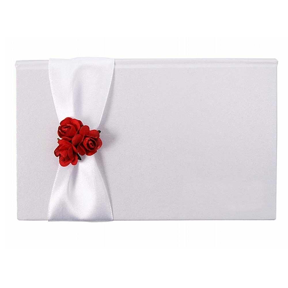 Box für Geldgeschenke in Weiß mit roten Rosen