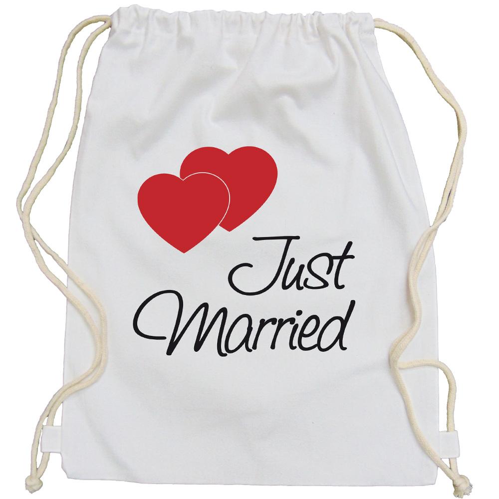Weißer Braut-Rucksack mit Just Married-Aufdruck