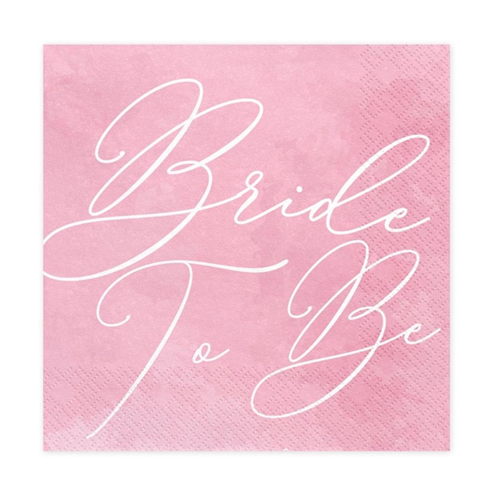 Rosafarbene JGA Servietten mit Bride to be-Aufdruck