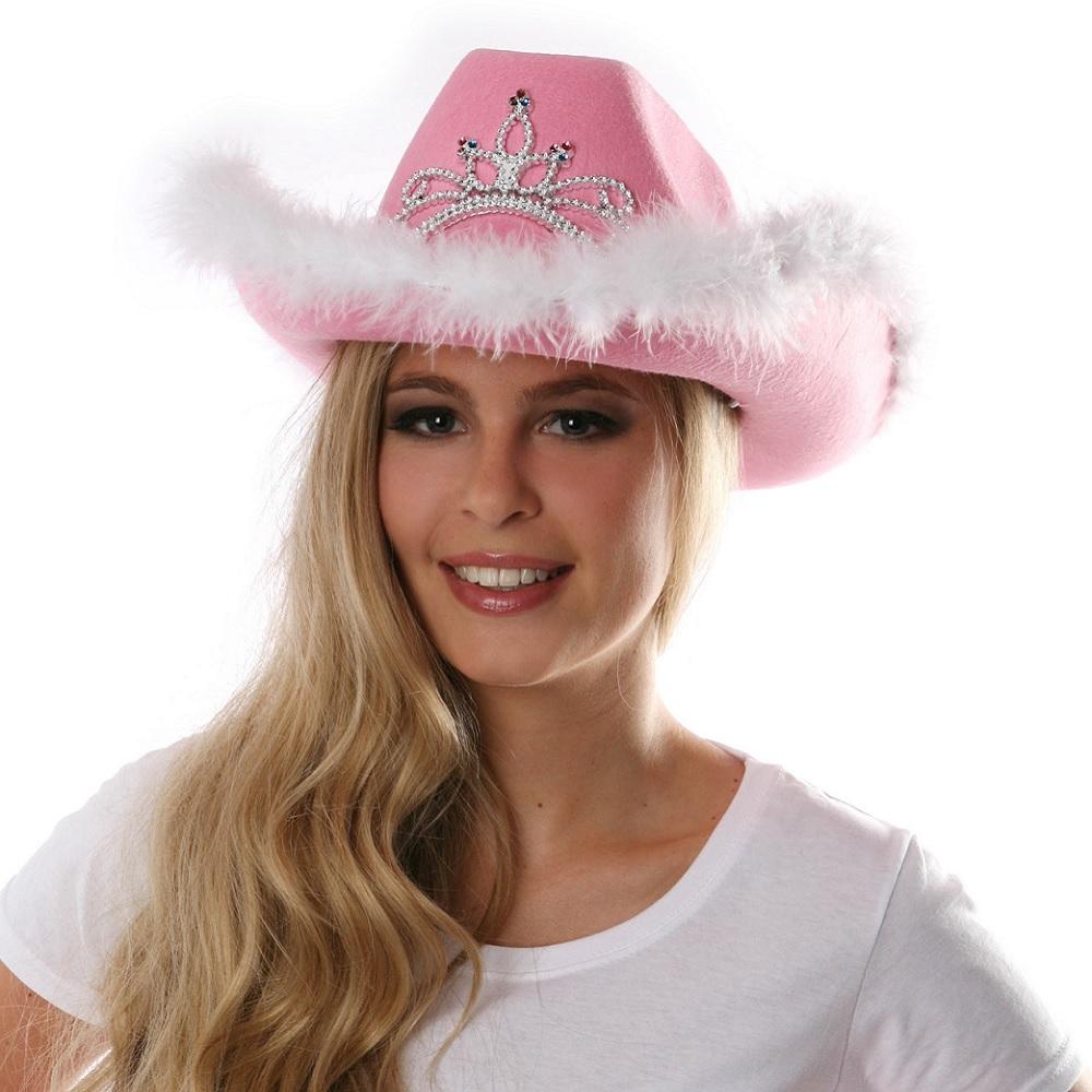Rosa Cowgirl-Hut mit Tiara und Federn
