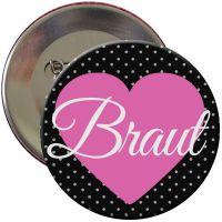 """Button """"Braut"""" mit Herz"""