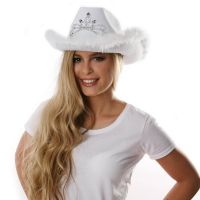 Weißer Cowgirl-Hut mit Tiara & Federn