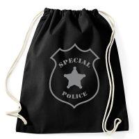 Schwarzer Rucksack mit Cop Badge für Polizeikostüme