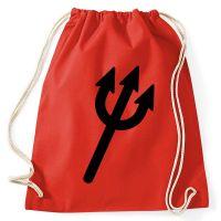 Roter Rucksack mit Dreizack für Teufelkostüme