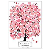 Fingerabdruck-Baum mit Herz-Motiven als Gästebuch für die Hochzeit