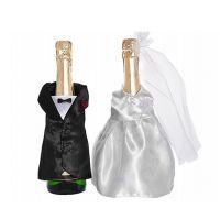 Flaschen-Dekoration mit Frack und Brautkleid