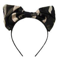 Haarreif mit großer Stoffschleife im Camouflage-Muster