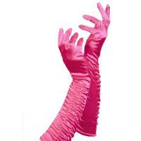 Pinke Satin-Handschuhe