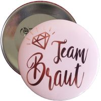 Team Braut Button in Rosegold fuer den Junggesellenabschied