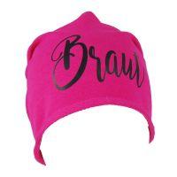 Pinkfarbene JGA Beanie-Muetze mit schwarzem Braut-Schriftzug