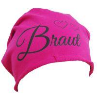 Pinke Baumwoll-Beanie mit Braut-Schriftzug und Herzen