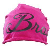 Pinkfarbene JGA Beanie-Mütze mit Braut-Schriftzug