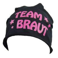 """Baumwoll-Beanie """"Team Braut"""" - Sterne - Schwarz"""