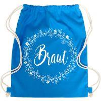 Blauer JGA Braut-Turnbeutel mit Blumen