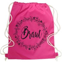 Pinkfarbener JGA Braut-Turnbeutel mit Blumen