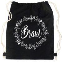 Schwarzer JGA Braut-Turnbeutel mit Blumen