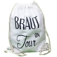 Weißer JGA-Rucksack mit Braut on Tour-Schriftzug