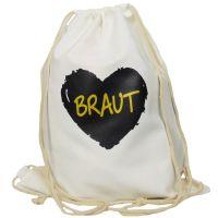 """Rucksack """"Braut"""" - schwarzes Herz - Weiß"""