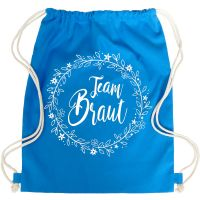"Rucksack ""Team Braut"" - Floral - Blau"