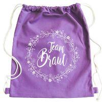 "Rucksack ""Team Braut"" - Floral - Lila"