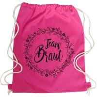 Team Braut JGA-Turnbeutel mit Blumen in Pink