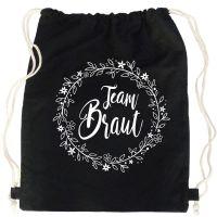 """Rucksack """"Team Braut"""" - Floral - Schwarz"""