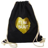 """Rucksack """"Team Braut"""" - goldenes Herz - Schwarz"""