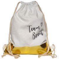"""Rucksack """"Team Braut"""" - Plain Hearts - WEISS-Gold"""