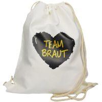 """Rucksack """"Team Braut"""" - schwarzes Herz - Weiß"""