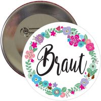 "Button ""Braut"" - Blumenkranz"