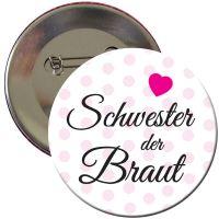 """Button """"Schwester der Braut"""" mit Herz"""
