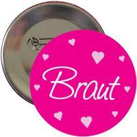 Pinkfarbener JGA-Button mit Herzen für Damen - Braut-Schriftzug