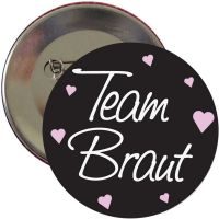 """Button """"Team Braut"""" - Classic - Schwarz"""