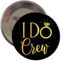 Schwarzer JGA Ansteck-Button mit goldfarbenem I Do Crew-Motiv