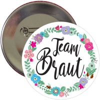 "Button ""Team Braut"" - Blumenkranz"