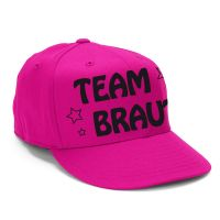 Pinke JGA-Cap mit Team Braut-Schriftzug und Stern-Motiv - seitliche Ansicht