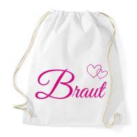 Weißes JGA Daypack mit Braut-Motiv und Herzen
