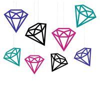 Bunte Hänge-Deko in Diamant-Form für den Junggesellinnenabschied