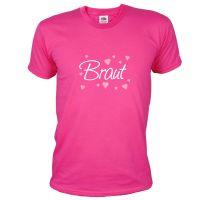 Pinkfarbenes Herren JGA-Shirt mit Braut-Aufdruck