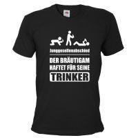 """T-Shirt """"Trinker - Bräutigam haftet"""" - Schwarz"""