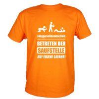 Betreten der Saufstelle auf eigene Gefahr - Männer JGA-Shirt in Orange