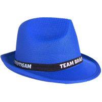 Blauer JGA Gangster-Hut mit Team Bräutigam-Hutband