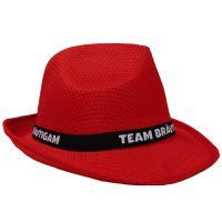 Roter JGA Gangster-Hut mit Team Bräutigam-Hutband