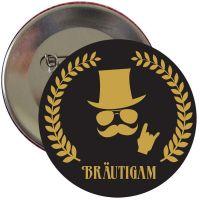 Schwarzer JGA Herren-Button mit goldfarbenem Braeutigam-Motiv