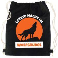 Schwarzer JGA Turnbeutel-Rucksack mit Wolfsrudel-Motiv