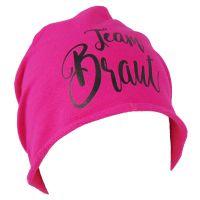 Pinkfarbene JGA Beanie-Muetze mit schwarzem Team Braut-Schriftzug